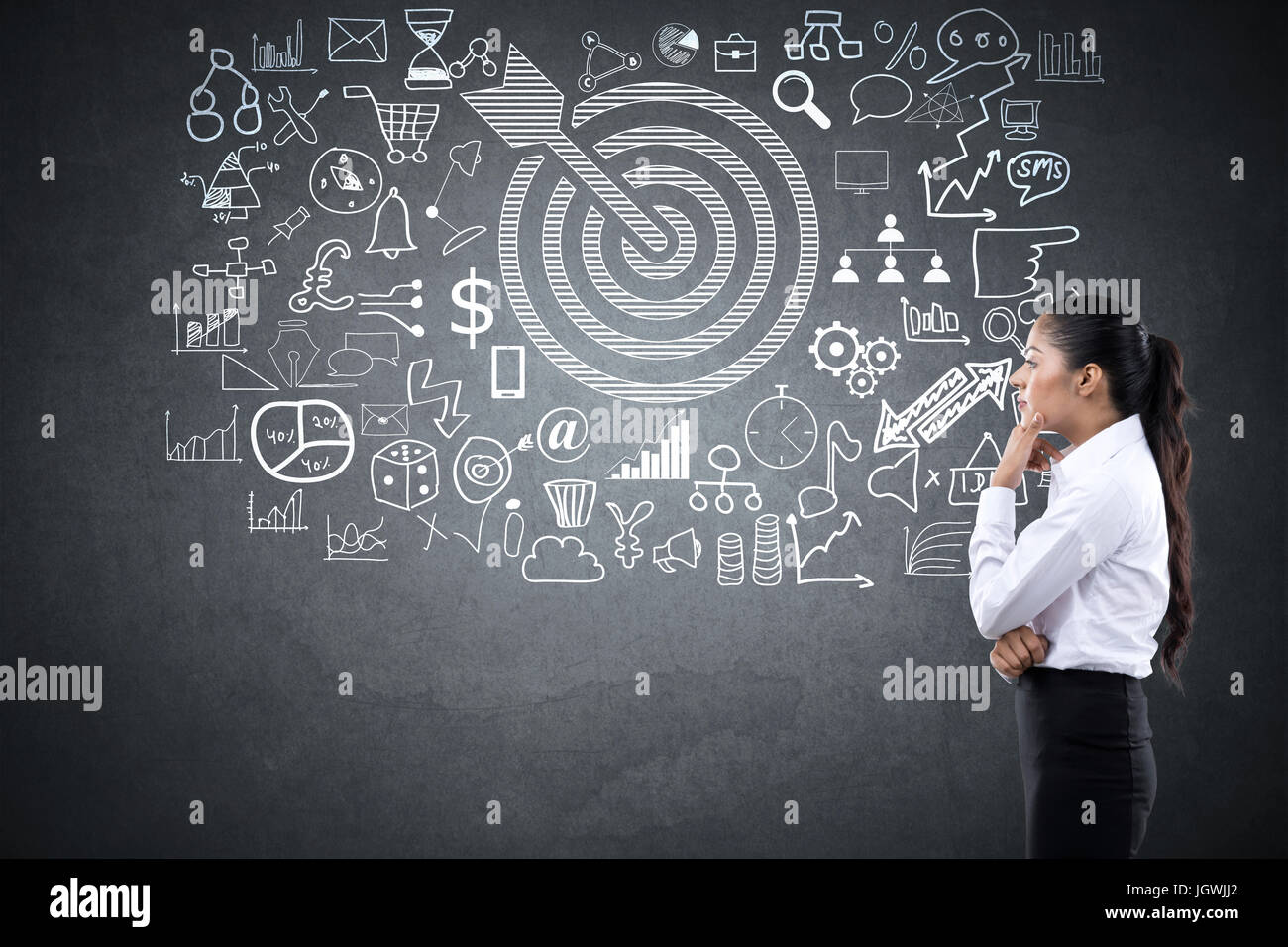 Thinking woman with dart target and business icons Stock Photo