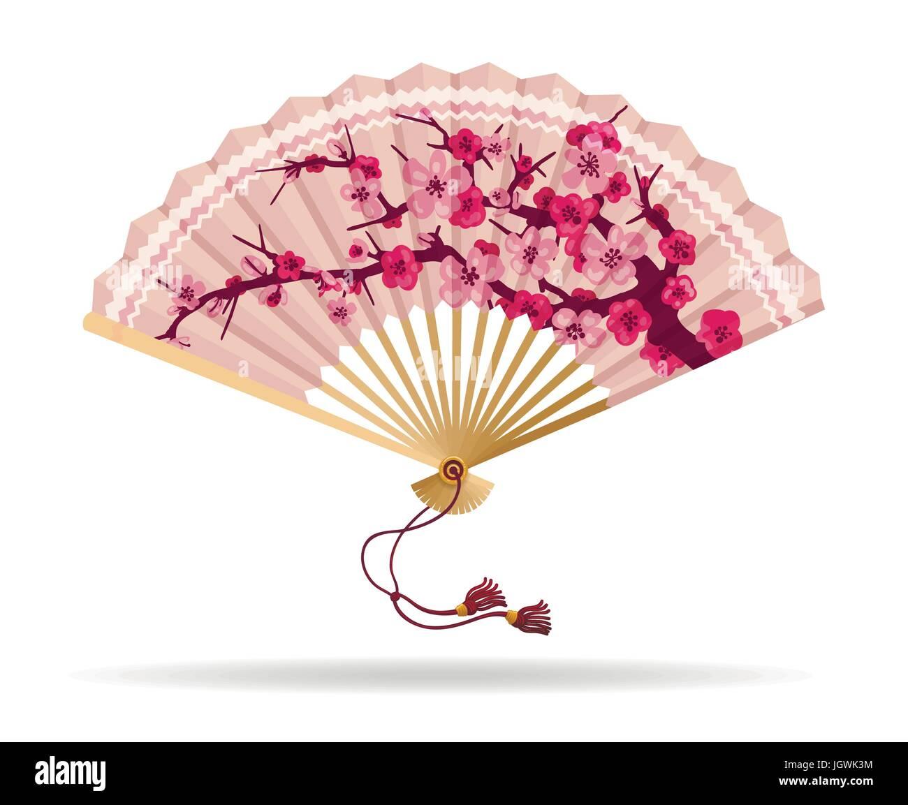 Japan cherry blossom folding fan vector illustration ...