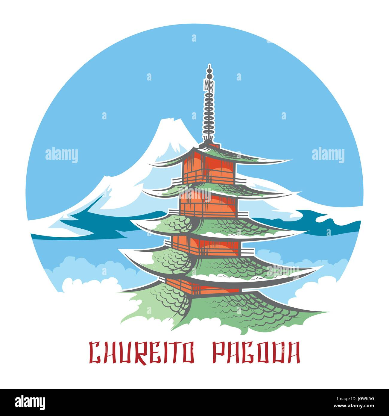 Chureito pagoda landscape vector japan emblem. Colored sketch of Fuji mountain panorama with pagoda temple - Stock Image