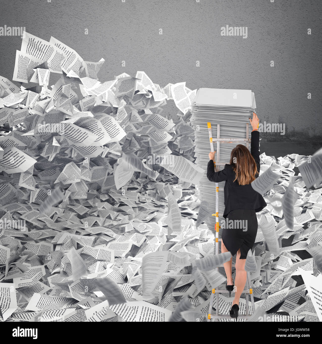 Businesswoman with paper sheet anywhere. Buried by bureaucracy concept. - Stock Image