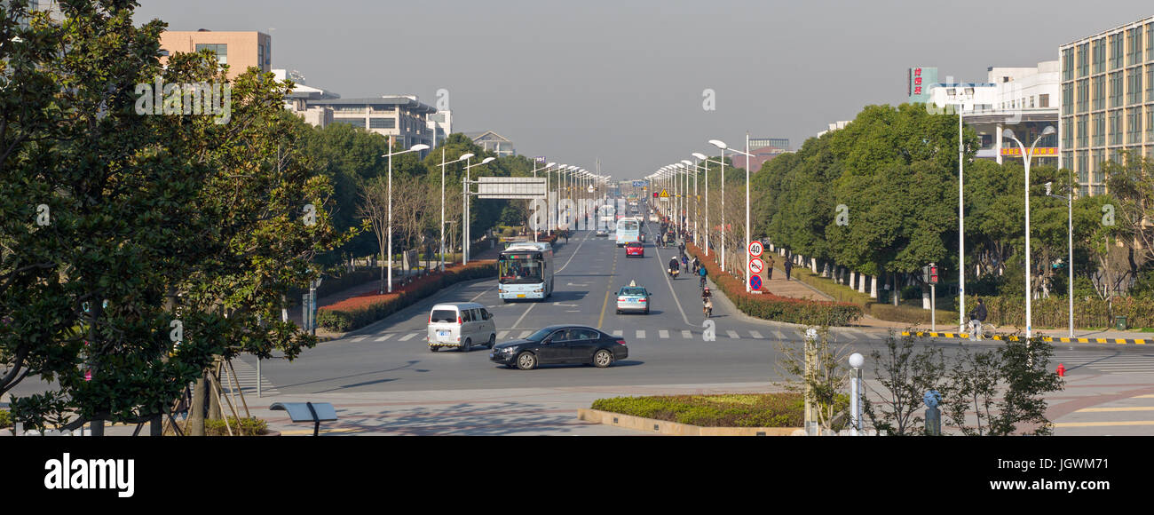 End of Ren'ai Road at its junction with Linquan Street. Suzhou, China - Stock Image