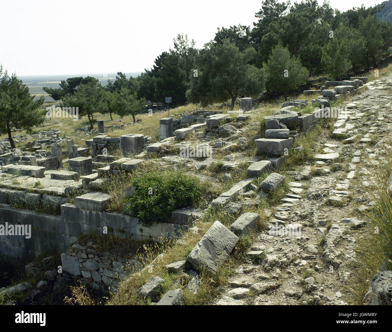 Turkey. Priene. Ancient Greek city of Ionia. Hellenistic style. Ruins. Anatolia. - Stock Image