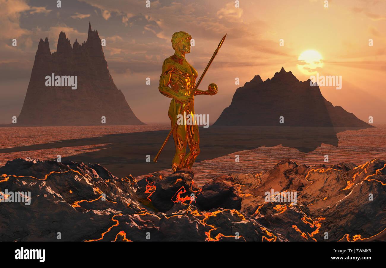 Vulcan The Roman God Of Fires & Volcanoes. - Stock Image