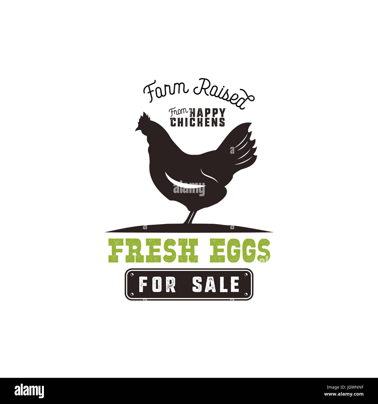 Farm Fresh Eggs Poster Vintage Rustic Emblem With Chicken Retro Typography Style Black And Green Design Isolated On White Background