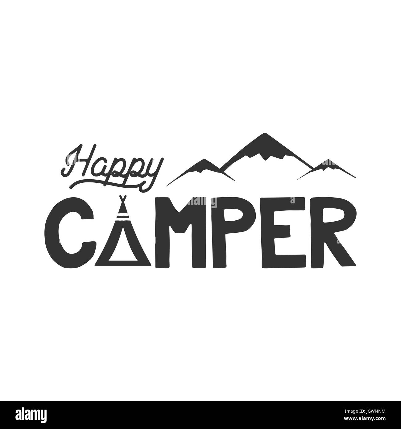 Happy Camper Poster Template Tent Mountains And Text Sign Retro Monochrome Design Hiking Emblem Stock Isolated On White Background