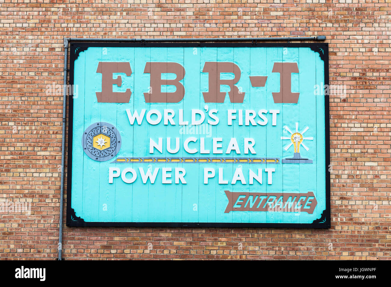 Sign on the wall on the main building of EBR-1 (Experimental Breeder Reactor 1) close to Arco, Idaho - Stock Image