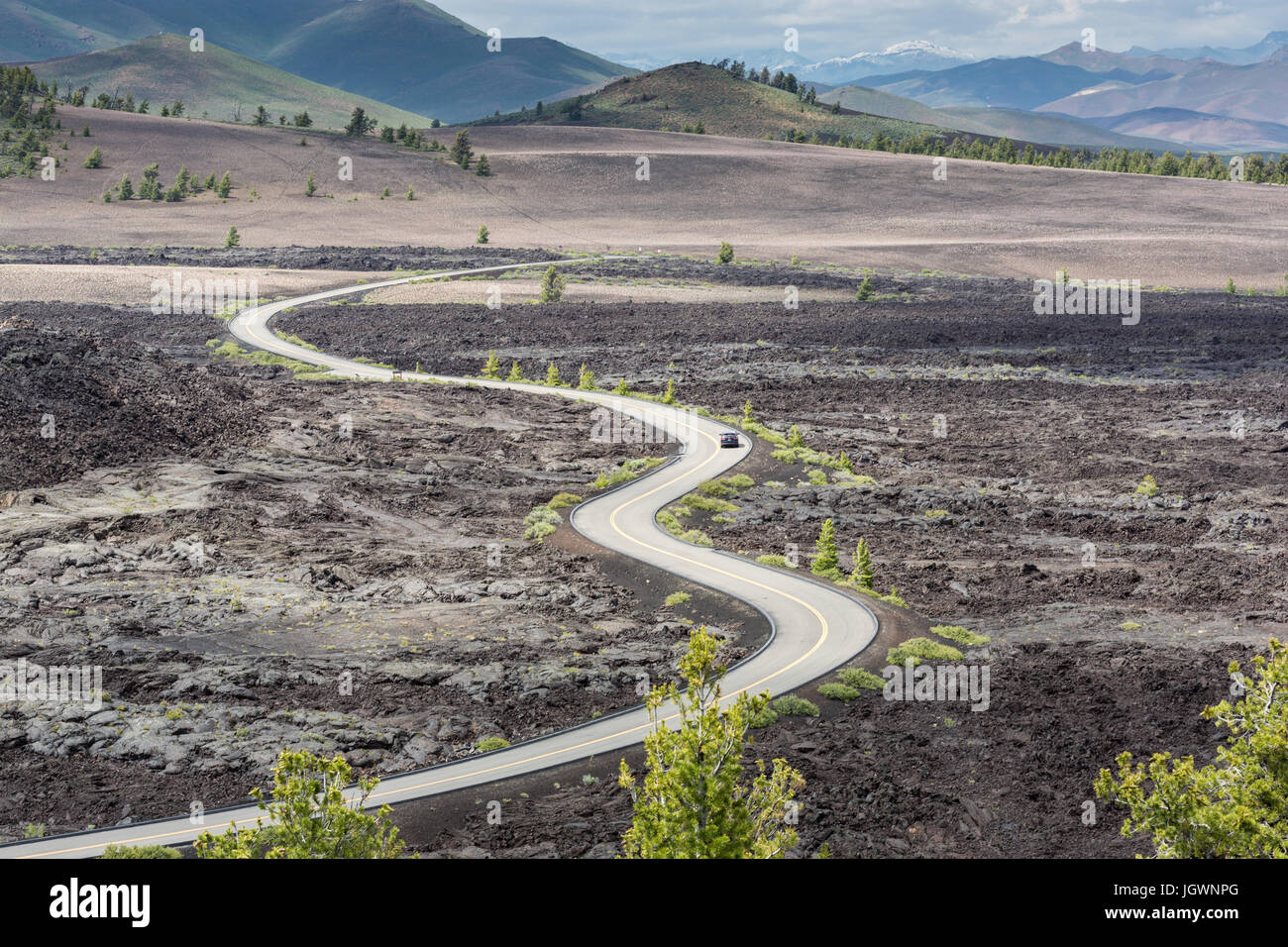 Loop road in Craters of the Moon National Monument & Preserve, Idaho as seen from Broken Top Trail Stock Photo