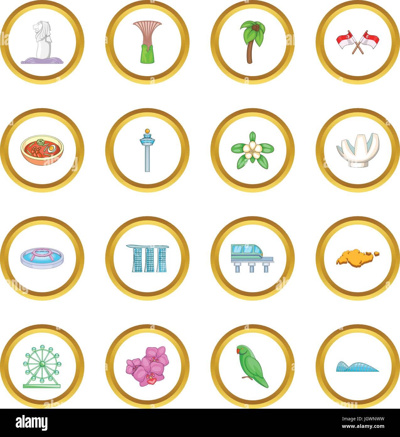 Singapore travel icons circle Stock Vector