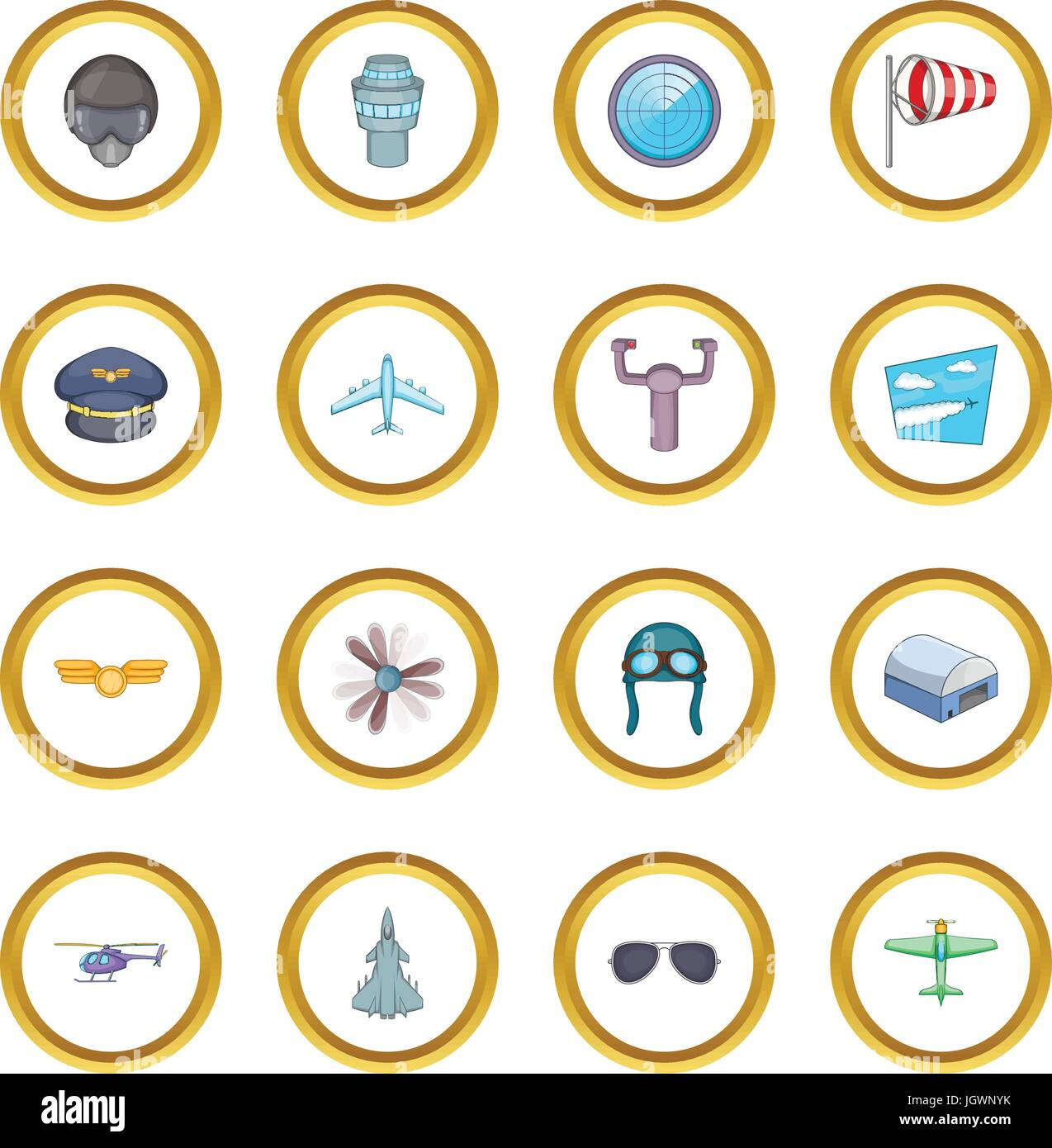 Aviation icons circle Stock Vector