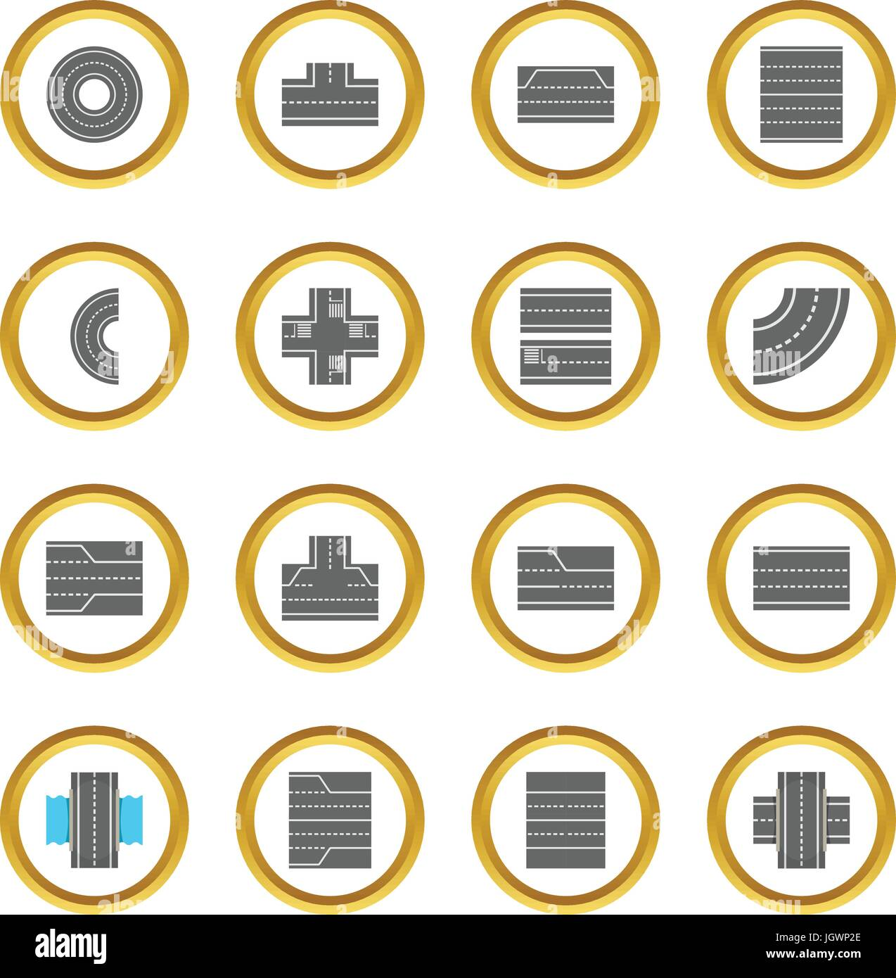 Road elements constructor icons circle - Stock Image
