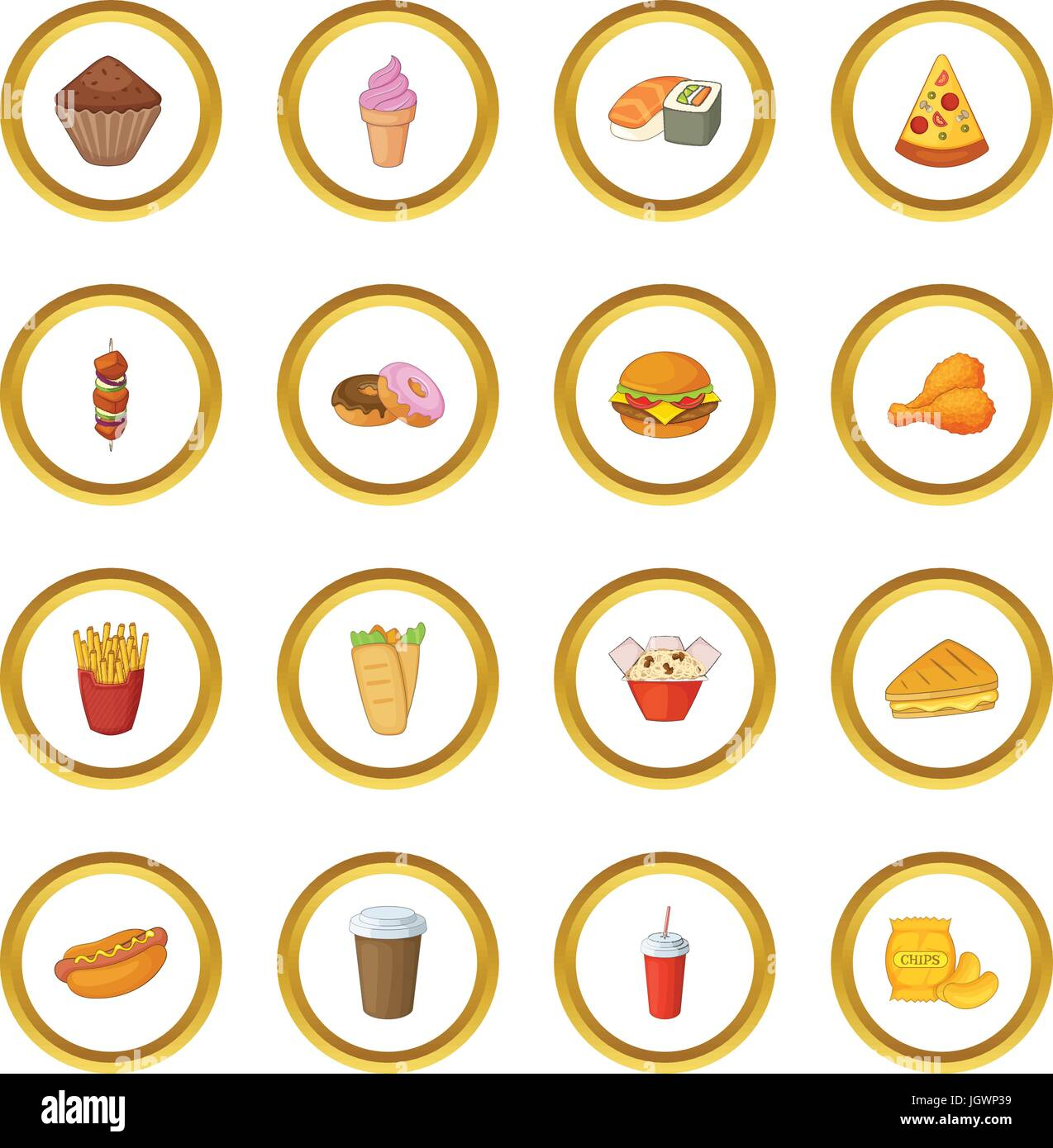 Fast food icons circle - Stock Vector