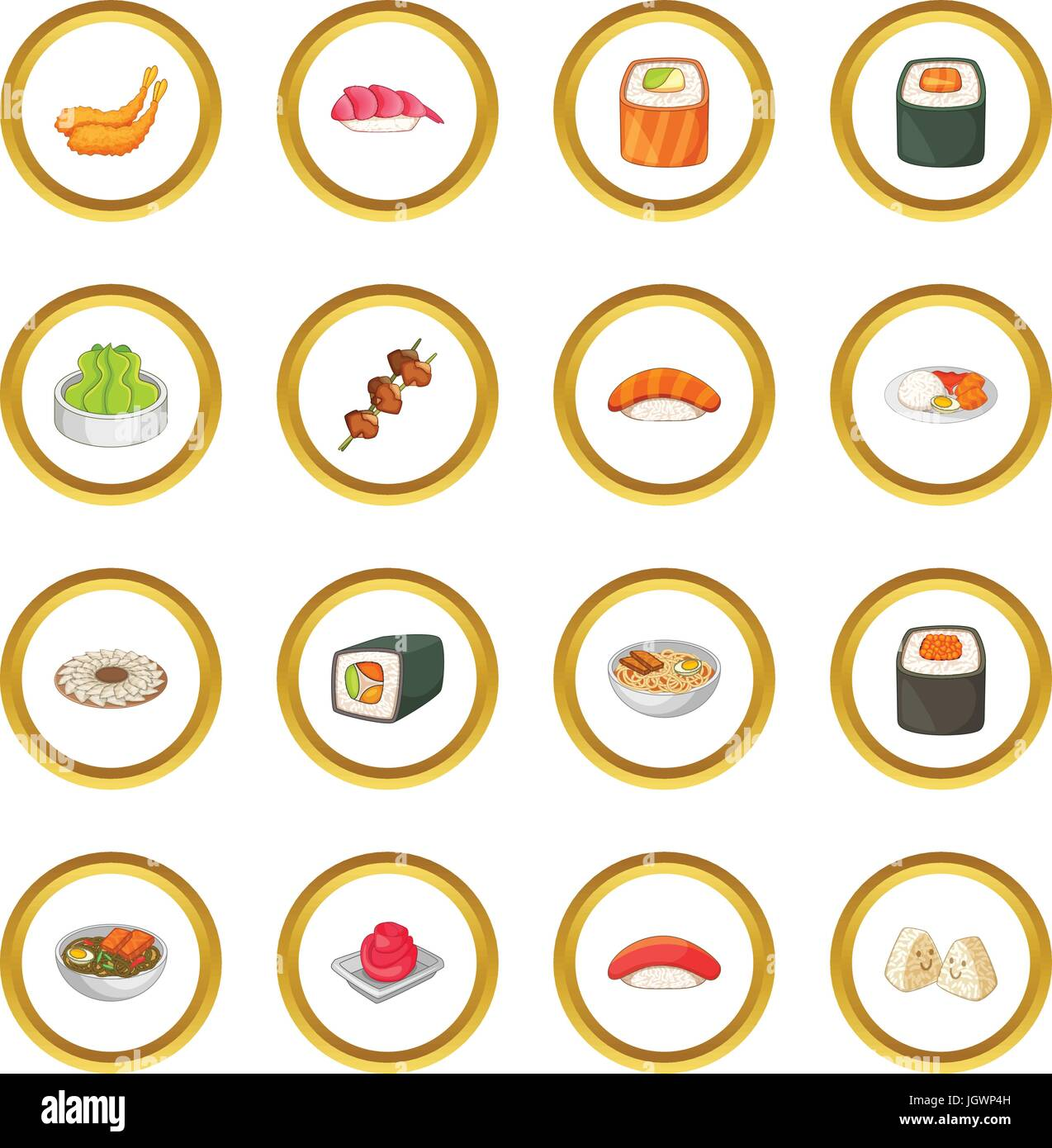Japanese food icons circle - Stock Vector