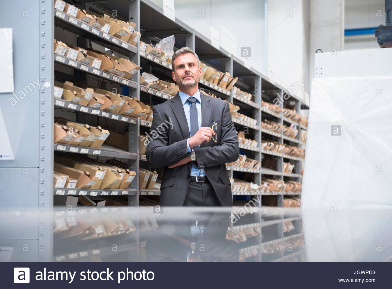 Portrait of business manager in distribution warehouse - Stock Image