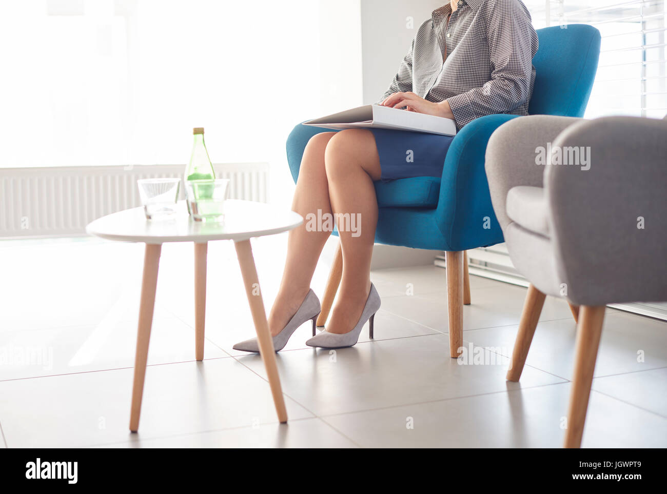 Candidate waiting at job interview - Stock Image