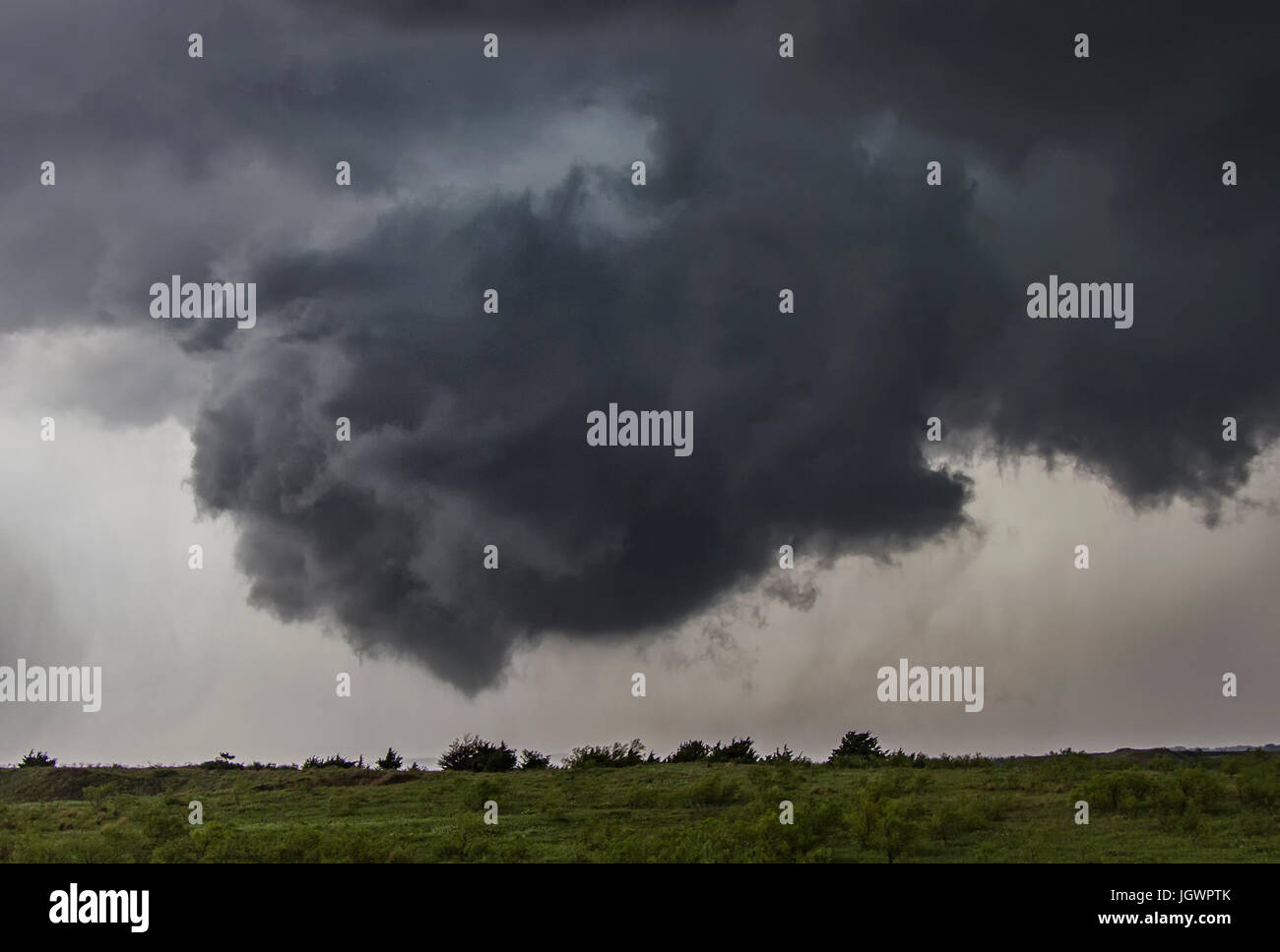 Rotating cloud over rural area, Waynoka, Oklahoma, United States, North America Stock Photo
