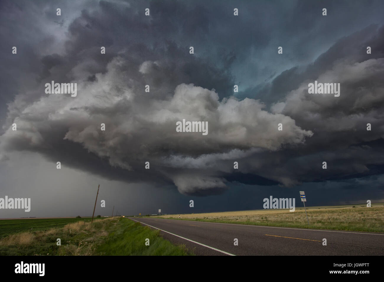 Rotating clouds over rural area, Cope, Colorado, United States, North America - Stock Image