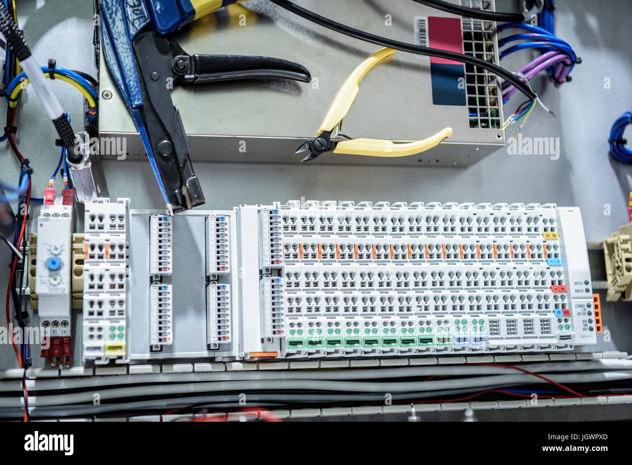 Electronics detail in cable finishing factory - Stock Image