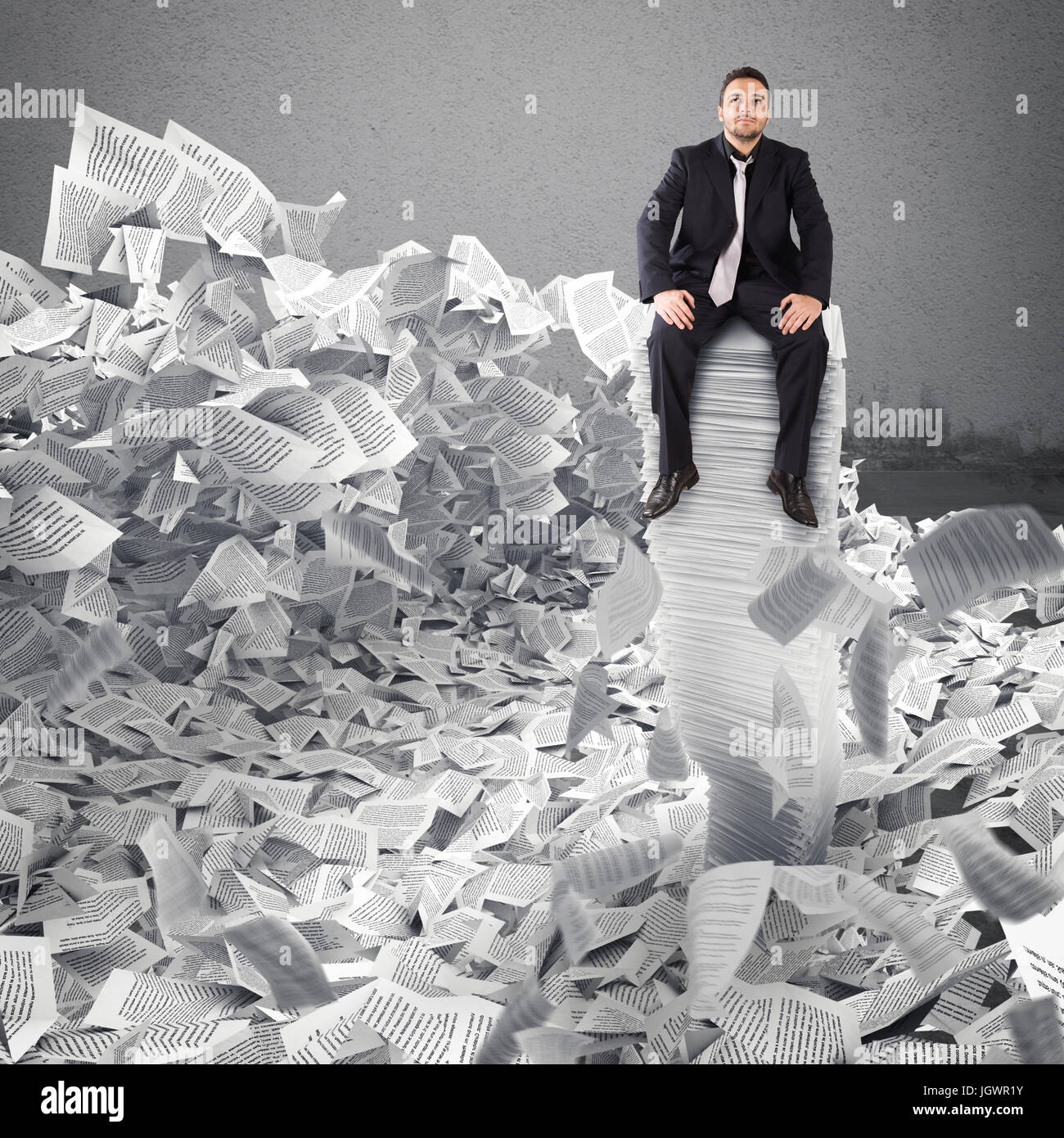 Businessman with paper sheet anywhere. Buried by bureaucracy concept. - Stock Image