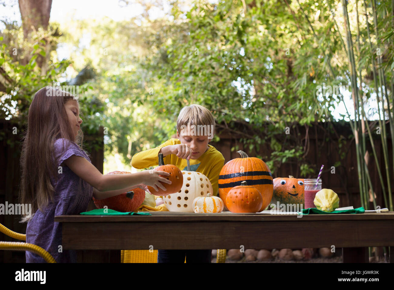 Boy and sister carving pumpkins on garden table - Stock Image