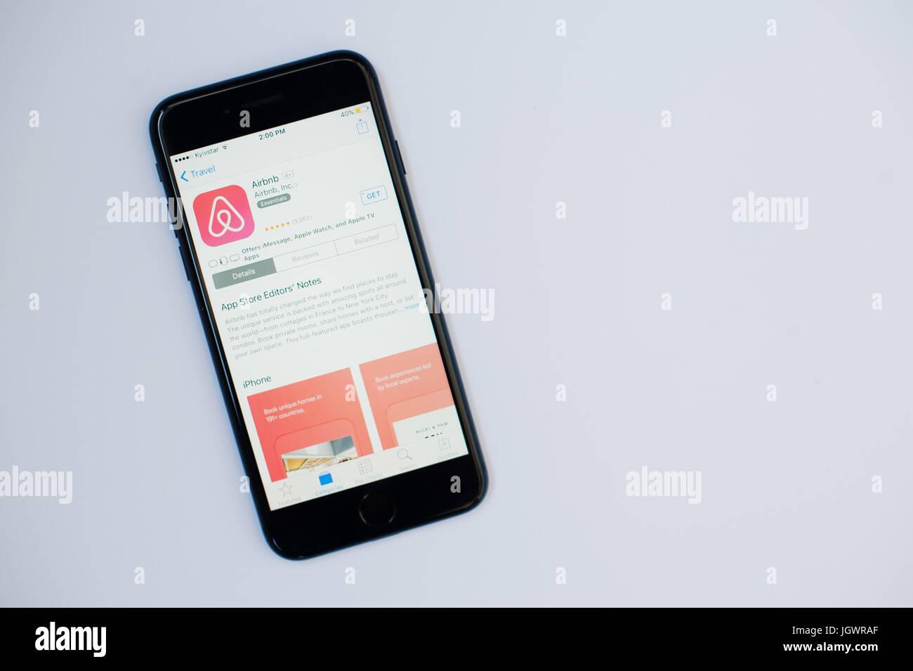 Kyiv Ukraine Jul 11 2017 Apple Iphone 7 With Airbnb Application