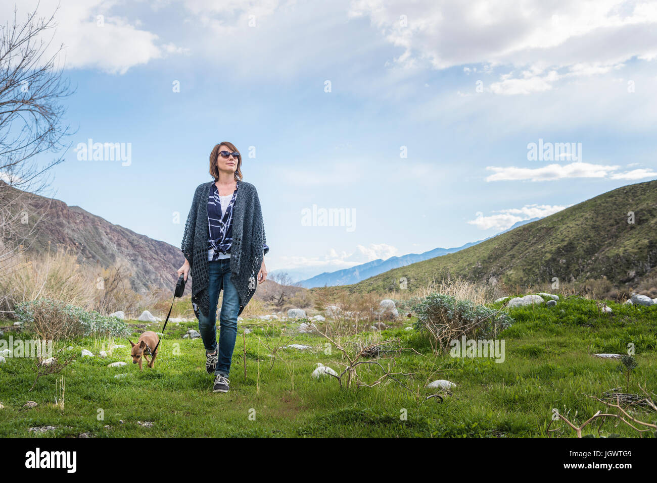 Mature woman walking dog in valley landscape - Stock Image