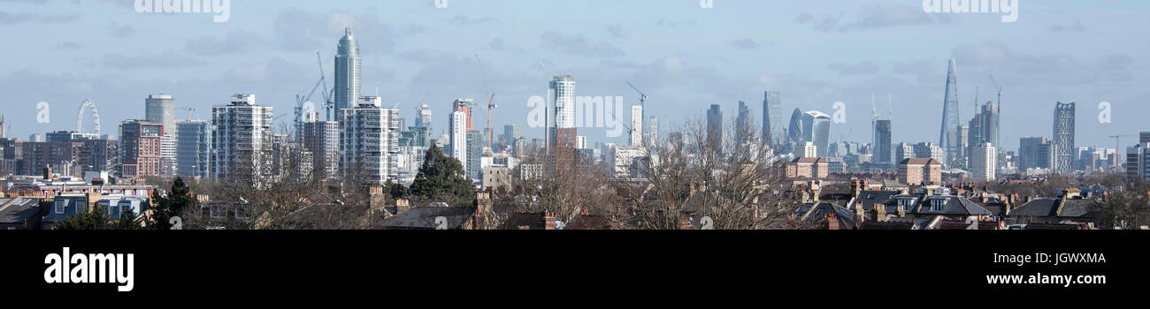 London City Skyline from the London Eye to the City. - Stock Image