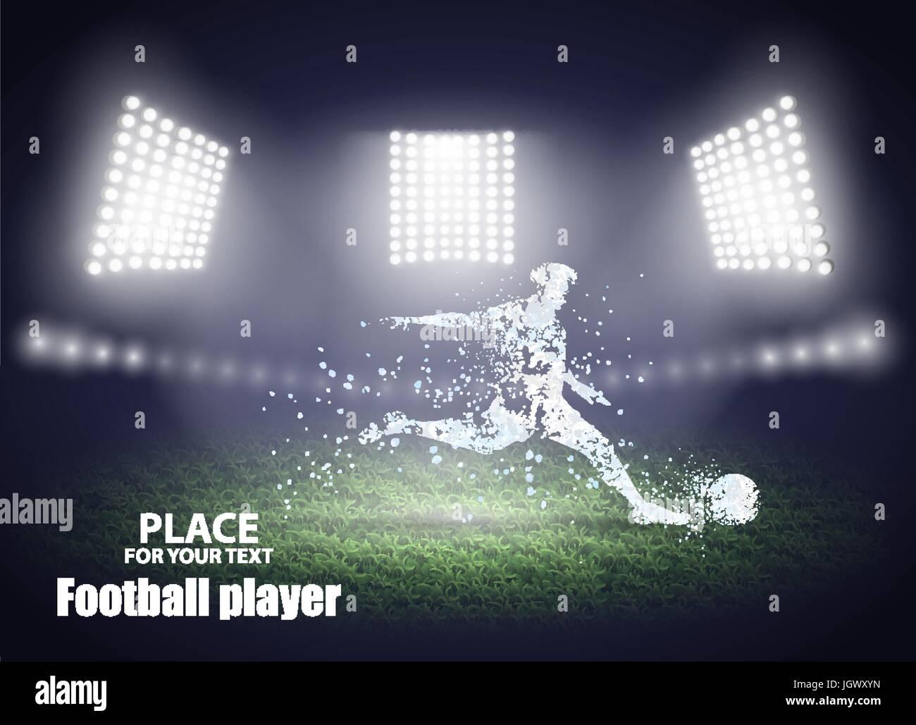 Stadium lights. Motion design. Football player, kick a ball. Vector illustration. - Stock Vector