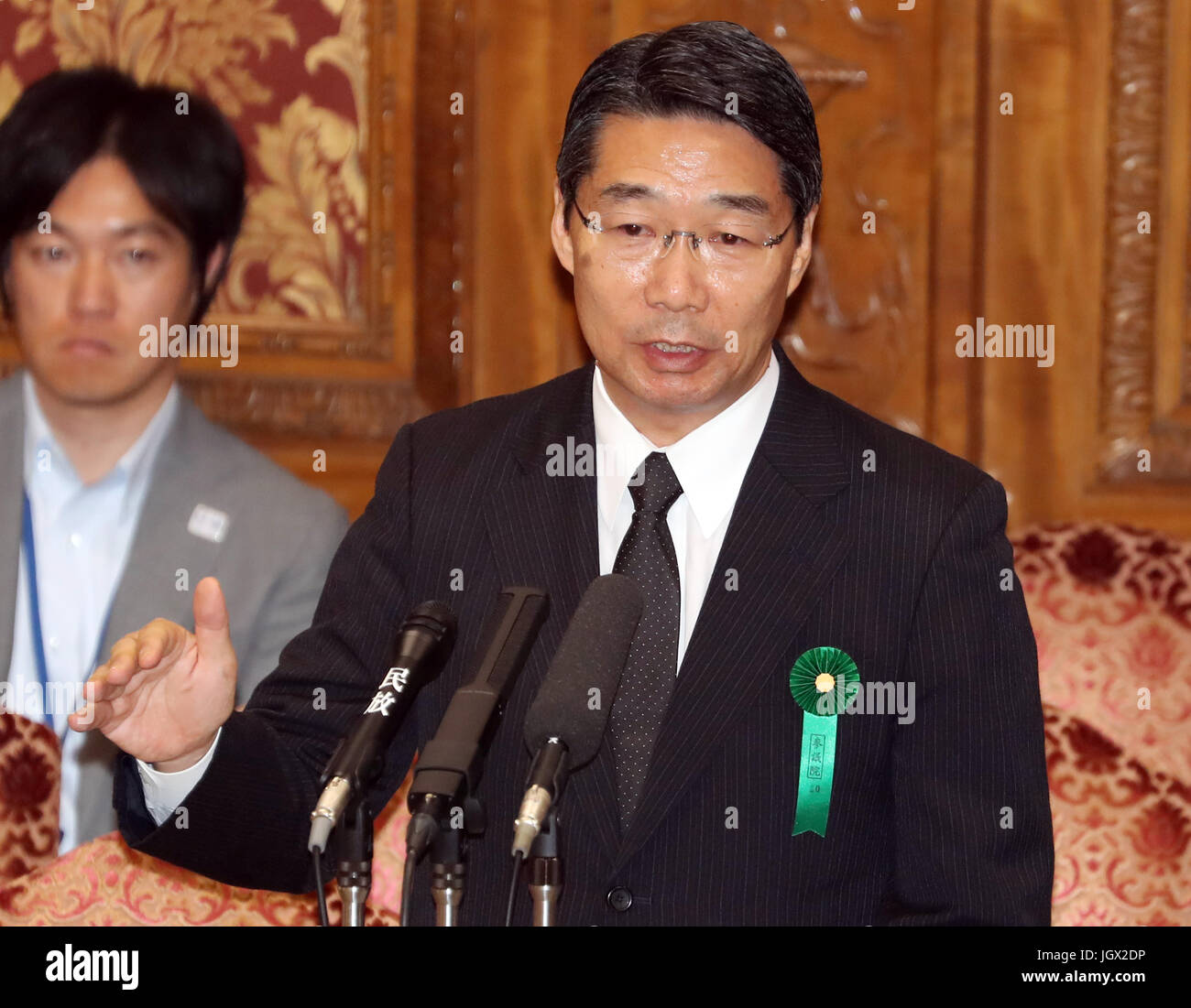 Tokyo, Japan. 10th July, 2017. Former vice Education Minister Kihei Maekawa speaks at the Upper House's committee - Stock Image