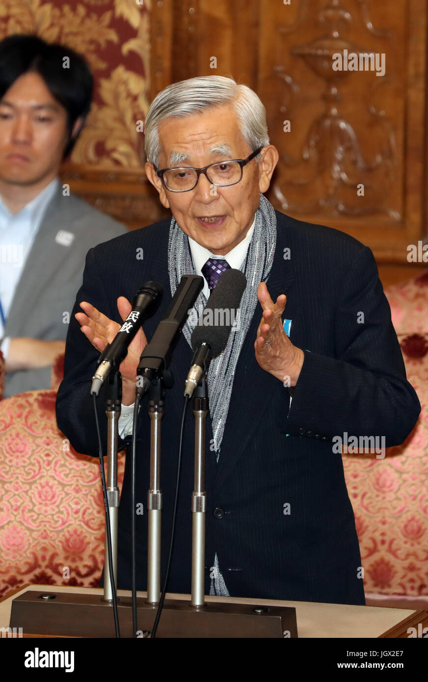 Tokyo, Japan. 10th July, 2017. Former Ehime prefecture Governor Moriyuki Kato speaks at the Upper House's committee - Stock Image