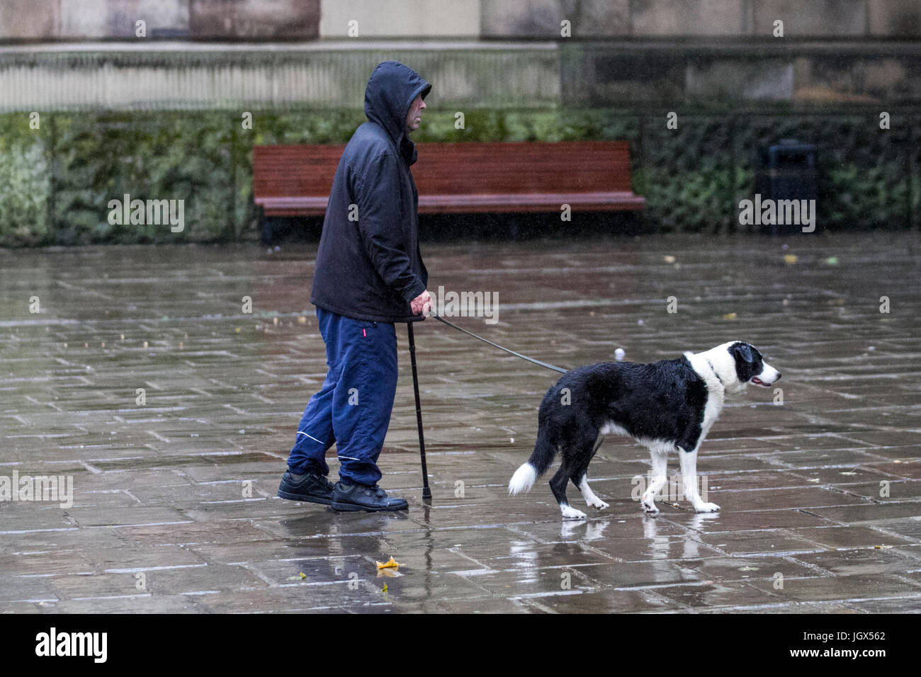 Preston, Lancashire, UK. UK Weather. 11th July, 2017. Heavy and persistent rain in the city, with a forecast for Stock Photo