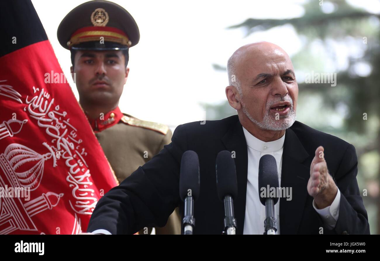 Kabul, Afghanistan. 11th July, 2017. Afghan President Mohammad Ashraf Ghani speaks during a press conference in Stock Photo