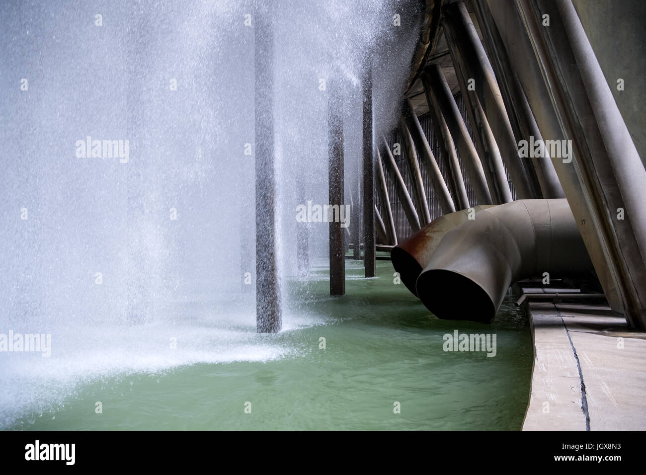 Water is cooled in the cooling tower of Block B of Gundremmingen nuclear power plant near Guenzburg, Germany, 11 Stock Photo