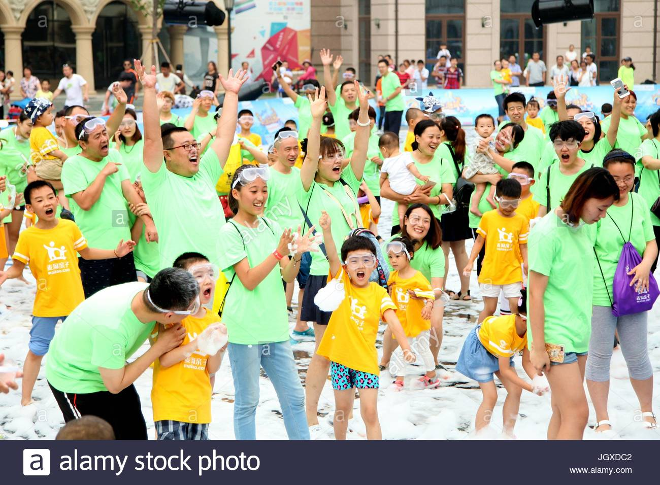 A rare bubble party is held at a hotel in the West Coast Resort attracting more than 7,000 citizens and tourists - Stock Image