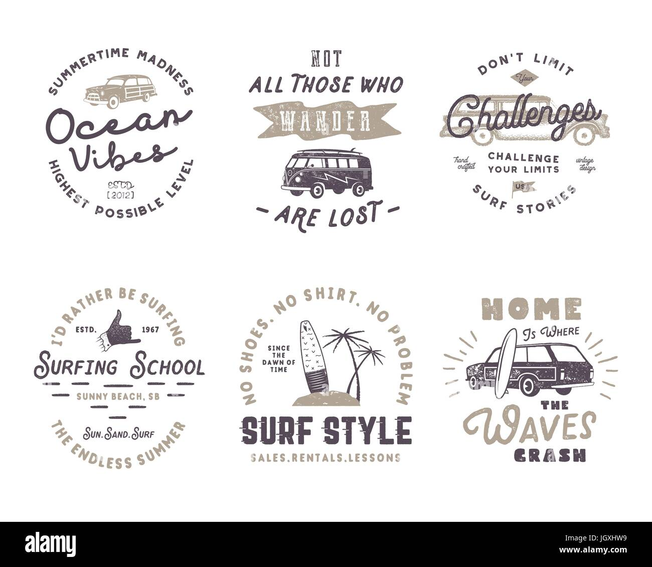 Set of Vintage Surfing Graphics and Emblems for web design or print. Surfer logotypes. Surf Badges. Summer fun typography - Stock Image