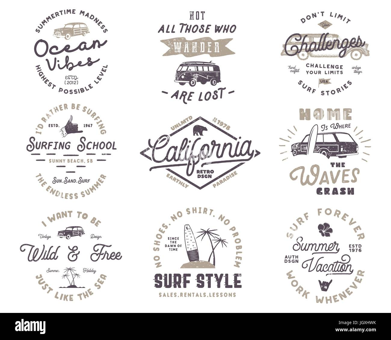 Set Of Vintage Surfing Graphics And Emblems For Web Design Or Print Surfer Logo Templates Surf Badges Summer Fun Typography Insignia Collection
