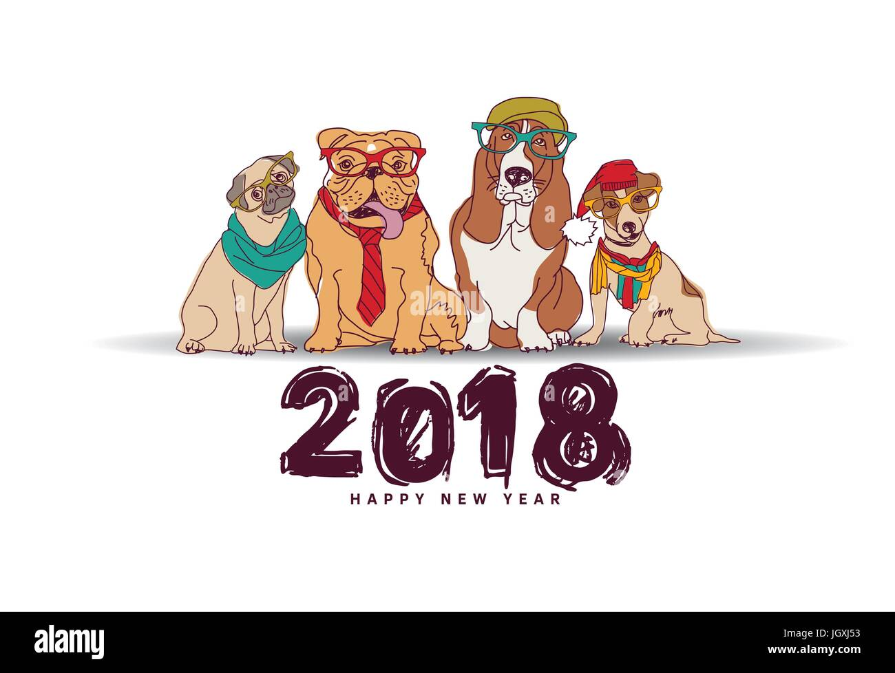 doodles happy new year card 2018 dogs isolate white