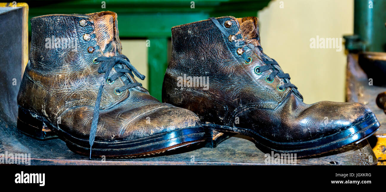 pair of unused old leather boots - Stock Image