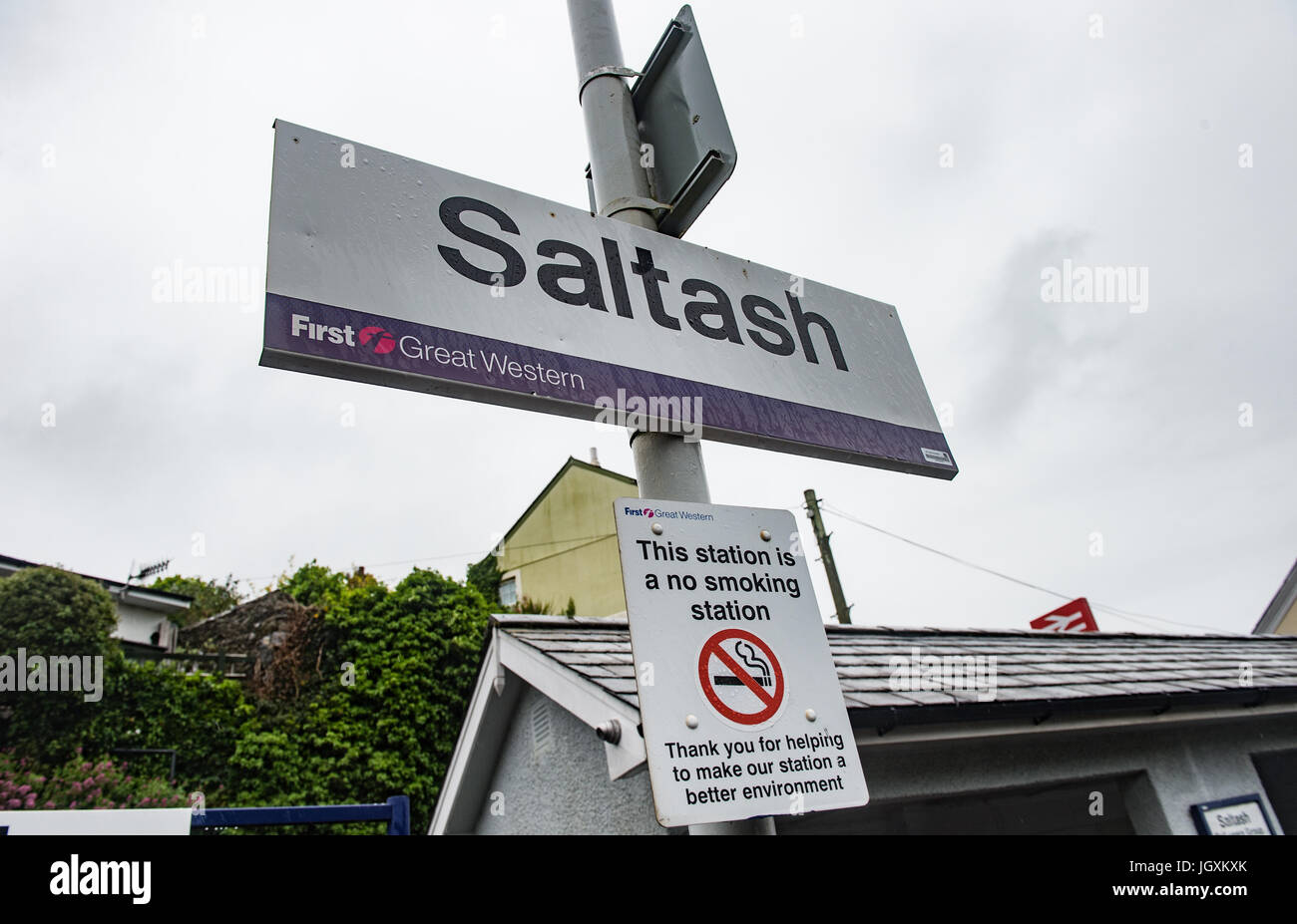 Picture by Paul Slater/PSI - Copyrighted Image  - Saltash Train Station, Cornwall, UK. - Stock Image