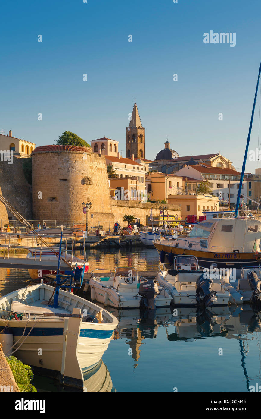Alghero Sardinia, view of the Alghero skyline with the harbour and port area in the foreground, Sardinia, Italy. - Stock Image