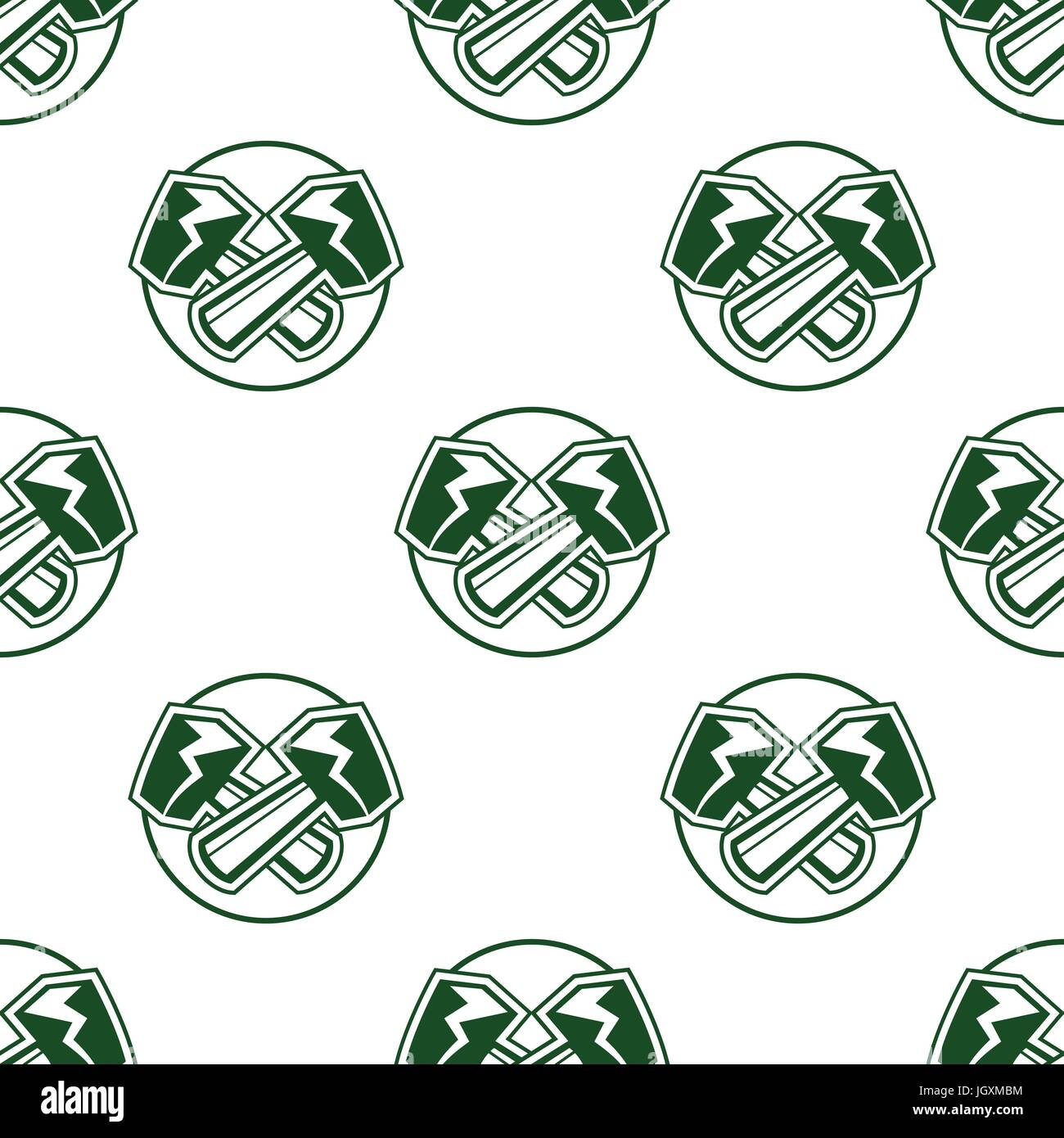 Hammers seamless pattern background, wallpaper. Football sports label style. Stock vector isolated on white - Stock Vector