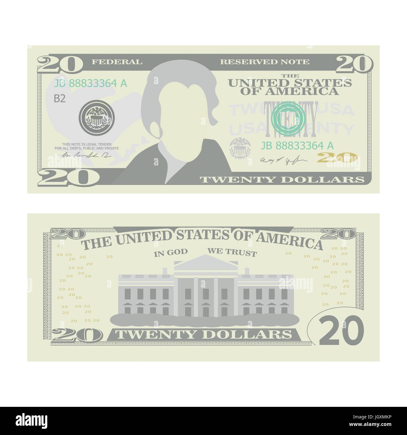 20 Dollars Banknote Vector. Cartoon US Currency. Two Sides Of Twenty American Money Bill Isolated Illustration. - Stock Vector