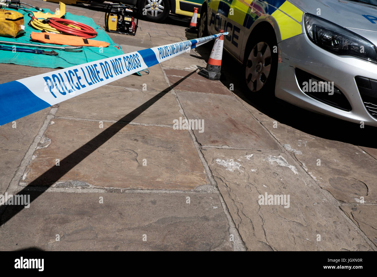 Crime scene - police line: do not cross tape in the center centre of York, UK. - Stock Image