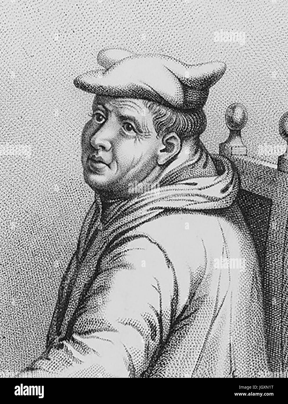 EDMUND BONNER (c 1500-1569) Bishop of London and persecutor of heretics under Mary I. A 19th century stipple engraving - Stock Image