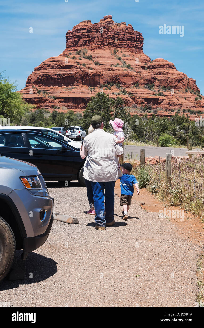 Sunday excursion of the family of tourists to  Bell Rock, Arizona, USA - Stock Image