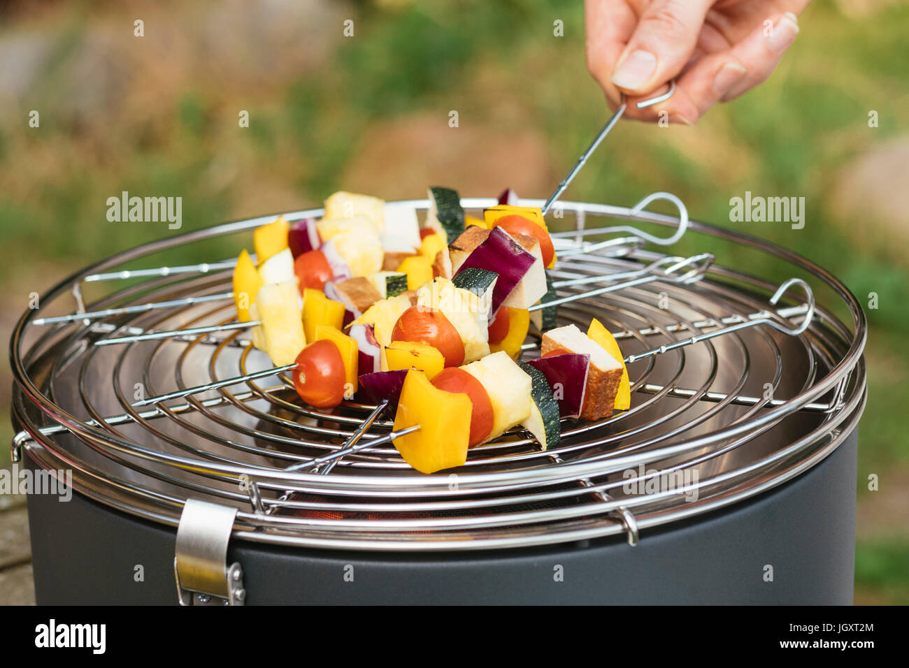 Man puts vegan kebabs with vegetables and tofu on a table grill. Stock Photo