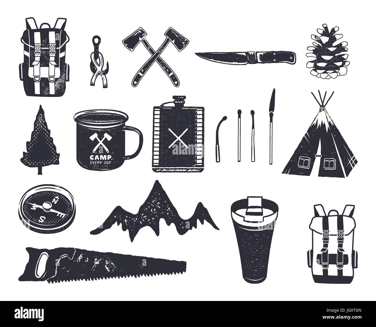 Vintage hand drawn adventure hiking, camping shapes of backpack, saw, mountain, matches, tree, knife, thermo cup - Stock Vector