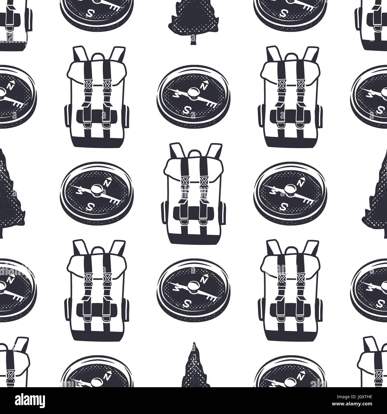 Vintage hand drawn hiking adventure pattern design. Camping seamless wallpaper with backpack, compass. Monochrome - Stock Vector