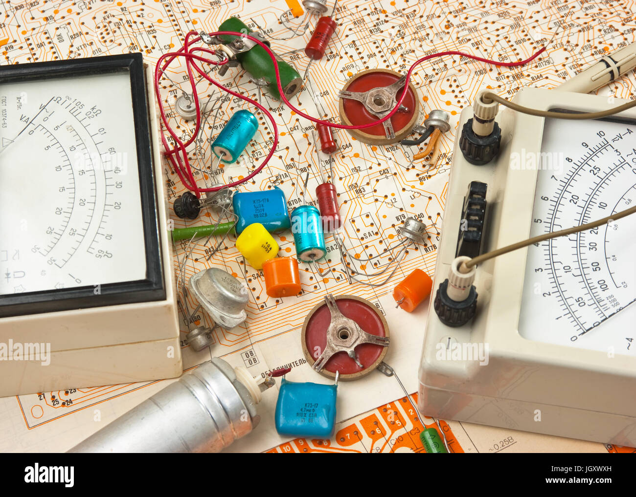 Wiring Diagram Stock Photos Images Alamy Learning Diagrams Old Electronic Components Lie On The Image