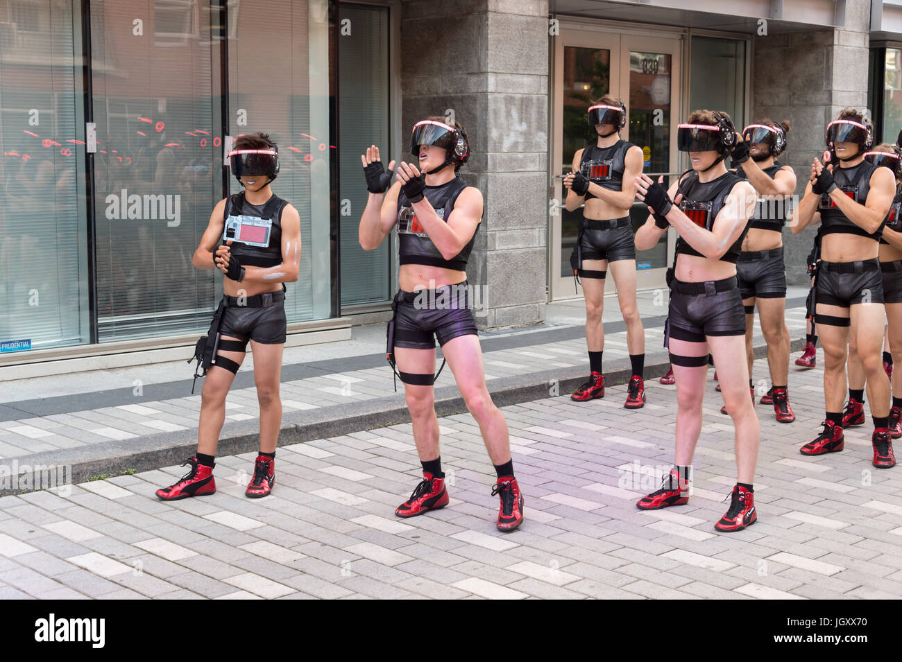 """Minutiens"" Street performers with VR headsets during Montreal Circus Arts Festival 2017 Stock Photo"