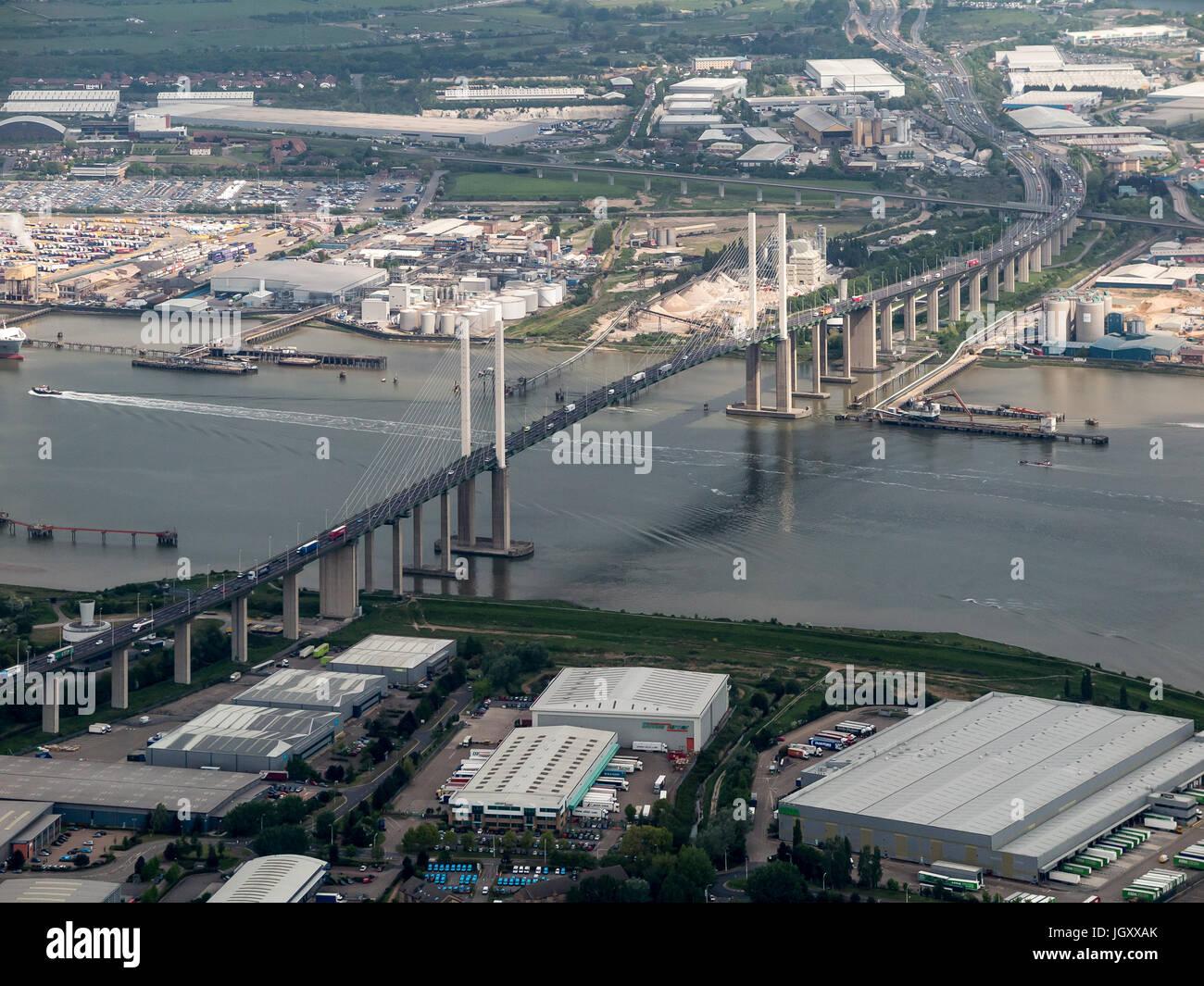 Aerial view of Queen Elizabeth 2 Bridge Dartford Kent England UK - Stock Image